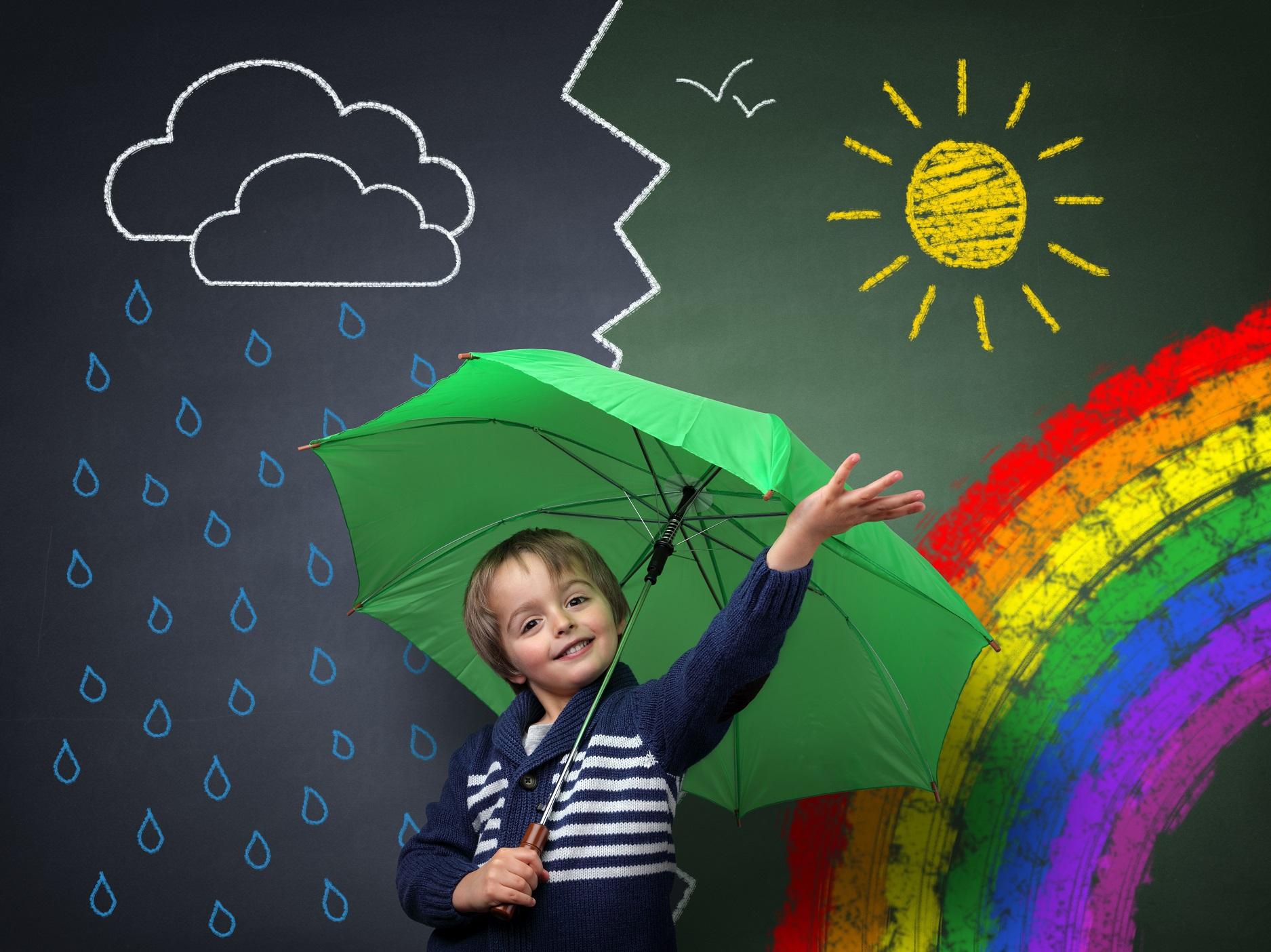 Rainy weather, rainbow, open